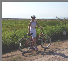 Debra Argen biking Old Saybrook - Photo by Luxury Experience