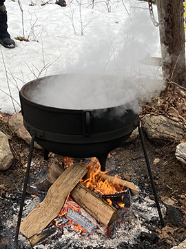 Outdoor Fire to boil maple sap - Stamford Museum & Nature Center - photo by Luxury Experience