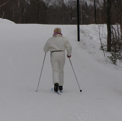 Cross-country skiing - Debra looking for chair lif - Photo by Luxury Experience