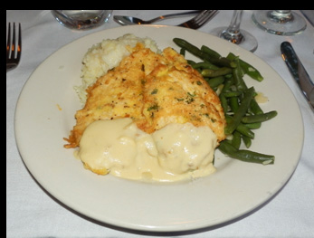 Chicken Francaise - Essex Clipper Dinner Train - photo by Luxury Experience