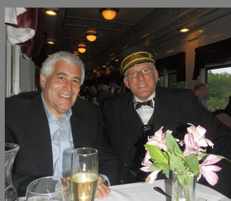 Conductor and Edward Nesta - Essex Clipper Dinner Train - photo by Luxury Experience