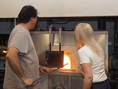 Pot Furnace pulling molten glass - photo by Luxury Experience