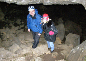 Lulli and Debra at Lava Cave,  Iceland - Photo by Luxury Experience