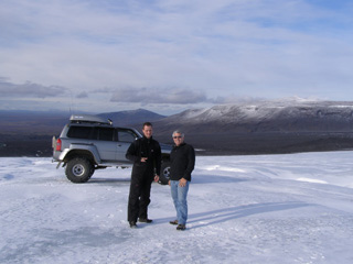 Edward and Lulli at Langjokull Glacier in Iceland - Photo by Luxury Experience