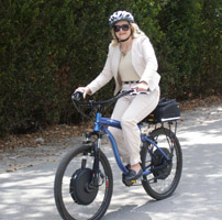Debra on Elecrtic Bike at  M Cruz Rentals, Fort Lauderdale, Florida