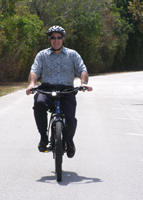 Edward on Electric Bike at M Cruz Rentals, Fort Lauderdale, Florida