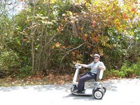 Edward on Electric Scooter with M Cruz Rentals, Fort Lauderdale, Florida