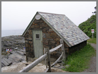 Black Point Inn Pump House along Prout Neck, Maine coastline walk- photo by Luxury Experience