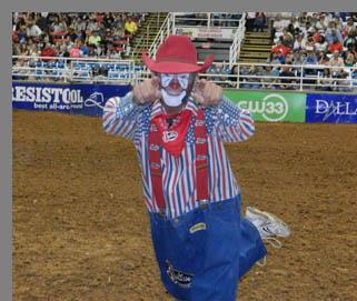 Keith Isle Clown - Mesquite Rodeo - Mesquite, Texas - photo by Luxury Experience