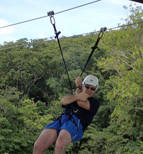 Edward F. Nesta riding Tirolesa (Zipline) Tower - Nascente Azul - Boniti, Mato Grosso do Sul, Brazil - photo by Luxury Experience