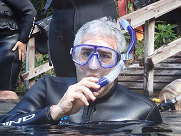 Edward F. Nesta ready to snorkel - Nascente Azul - Boniti, Mato Grosso do Sul, Brazil - photo by Luxury Experience