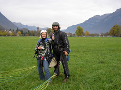 Debra and Pietschly after landing  - photo by Luxury Experience