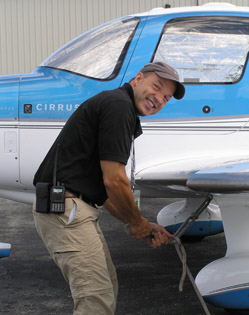 Chief Pilot Nick Gregory Securing pla - Photo by Luxury Experiencen