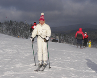Skiing Mont-Tremblant, Canada - Debra Argen at the Peak