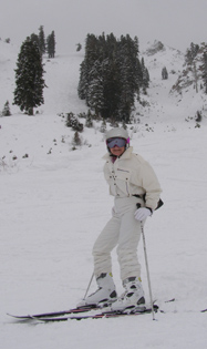 Debra Argen in front of the Jonny Moseley Run at Squaw Valley - Photo by Luxury Experiene