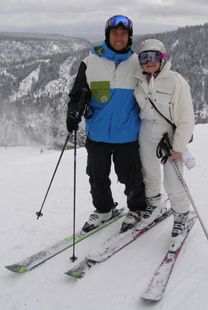 Jonny Moseley and Debra Argen Skiing Squaw Valley - Photo by Luxury Experience