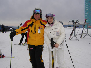 Mountain Guide Luc Bechard and Debra Argen - Mont-Tremblant, Canada - Photo by Luxury Experience - Smith Optics Ski Helmet and Ski Goggle