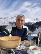 Edward F. Nesta al fresco lunch at Corviglia, St. Moritz, Switzerland