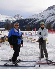 Edward F. Nesta and Priska Zahner at Corviglia, St. Moritz, Switzerland