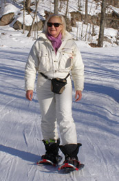 Debra, wearing Smith Optics Aura Sunglasses, Snowshoeing in Mont-Tremblant - Photo by Luxury Experience