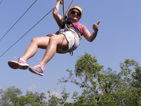 Debra C. Argen on Maya Zip-Line Adventure, Riviera, Maya, Mexico