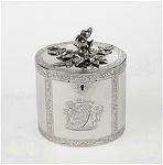 William & Aaron Lestourgeon antique silver tea caddy presented by Tobes, LTD