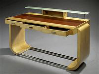 Raval and Bertrand small sycamore veneered lady desk presented by Jacques De Vos