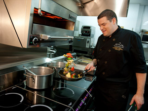 Chef Christian Bolduc in the Kitchen - Altitude Seafood and Grill - Lounge Restaurant at Le Casion de Mont-Tremblant, Canada