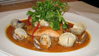 Halibut with Clams - Chef  Dwayne LiPuma - American Bounty Restaurant - The Culinary Institute of America, Hyde Park, New York