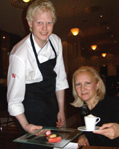 Chef Martin Brag and Debra C. Argen at Aquavit Grill & Raw Bar, Stockholm, Sweden