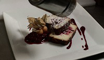 Clafoutis with Raspberries and White Chocolate - Chef Martin Faucher of Aux Truffes, Tremblant, Canada