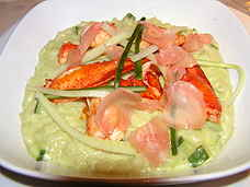 Sauteed lobster with wasabi-cucumber risotto