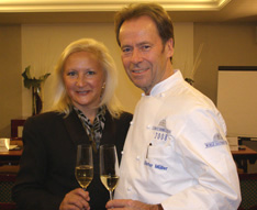 Debra C. Argen and Chef Dieter Muller of Restaurant Dieter Muller Germany