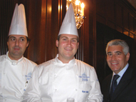 Edward F. Nesta, Chef Ryan Smith, and Chef Frederic Breuil of Badrutt's Palace in St. Moritz, Switzerland