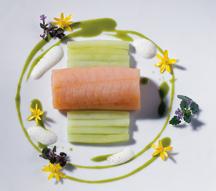 Bavarian Char Confit, Ginger & Wasabi Cucumber - HUGOS Restaurant, Berlin, Germany