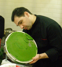 Chef Christophe Bellanca working pesto through tamis - New York Culinary Experience - Photo by Luxury Experience