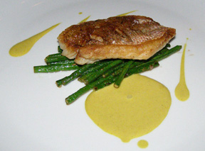 Red Snapper with Chinese Long Beans by Executive Chef Jimmy Lappalainen of Riingo at The Alex Hotel, New York