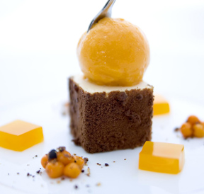 Chocolate Coated Almond Mousse with Sea Buckthorn Sorbet