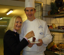 Debra C. Argen and pastry chef Stefan Gerber of Badrutt's Palace