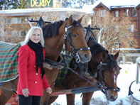 Debra C. Argen with horses in Arosa, Switzerland