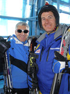 Edward and Kurli in cable car to Weisshorn