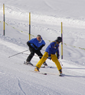 Edward F. Nesta and ski instructor in Arosa, Switzerland