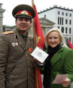 Guard and Debra C. Argen - Showing Replicate Visa during Berlin Wall days
