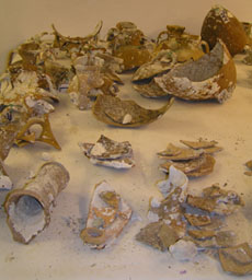 Pottery waiting to be reconstructed