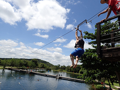 Nascente Azul, Edward F. Nesta on zipline - photo by Luxury Experience