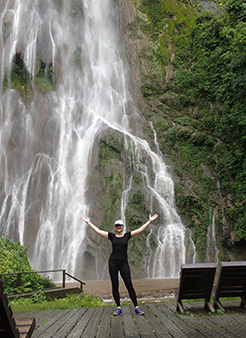 Debra C. Argen at waterfall - Boca da Onca - photo by Luxury Experience