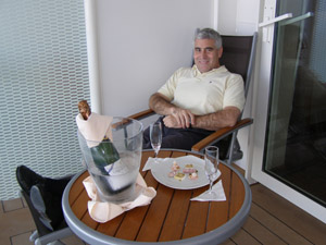 Edward enjoying the Veranda onboard Celebrity Cruises Eclipse - photo by Luxury Experience