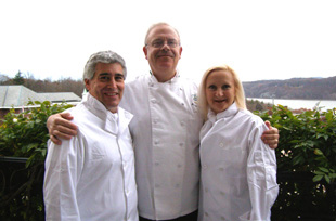 Edward Nesta, Chef Michael Skibitcky, Debra Argen at the Culinary Institute of America, Hyde Park, New York