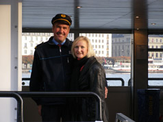 Lucerne, Switzerland - Captain of MS Flueten ad Debra C. Argen