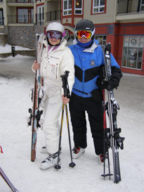Debra and Edward Skiing at Mont-Tremblant, Canada wearing Smith Optics Helmets and Goggles - Photo by Luxury Experience